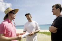 Director Nicholas Stoller, producer Judd Apatow and Jason Segel on the set of